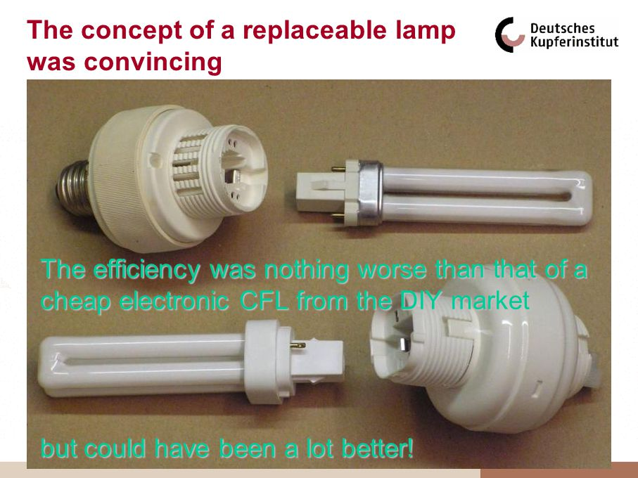 The concept of a replaceable lamp was convincing The efficiency was nothing worse than that of a cheap electronic CFL from the DIY market but could have been a lot better!