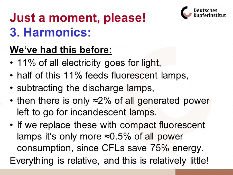 Just a moment, please! 3. Harmonics: Weve had this before: 11% of all electricity goes for light, half of this 11% feeds fluorescent lamps, subtractin