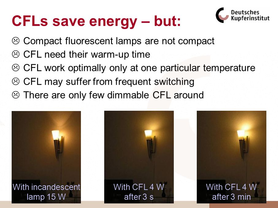 CFLs save energy – but: Compact fluorescent lamps are not compact CFL need their warm-up time CFL work optimally only at one particular temperature CFL may suffer from frequent switching There are only few dimmable CFL around With incandescent lamp 15 W With CFL 4 W after 3 s With CFL 4 W after 3 min