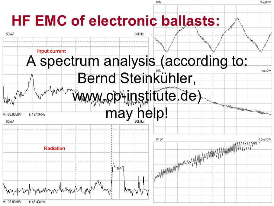 HF EMC of electronic ballasts: A spectrum analysis (according to: Bernd Steinkühler, www.cp-institute.de) may help!