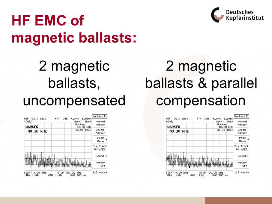 HF EMC of magnetic ballasts: 2 magnetic ballasts, uncompensated 2 magnetic ballasts & parallel compensation