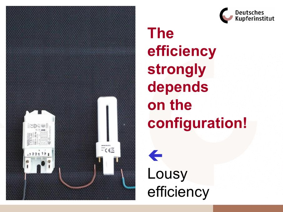 Lousy efficiency The efficiency strongly depends on the configuration!