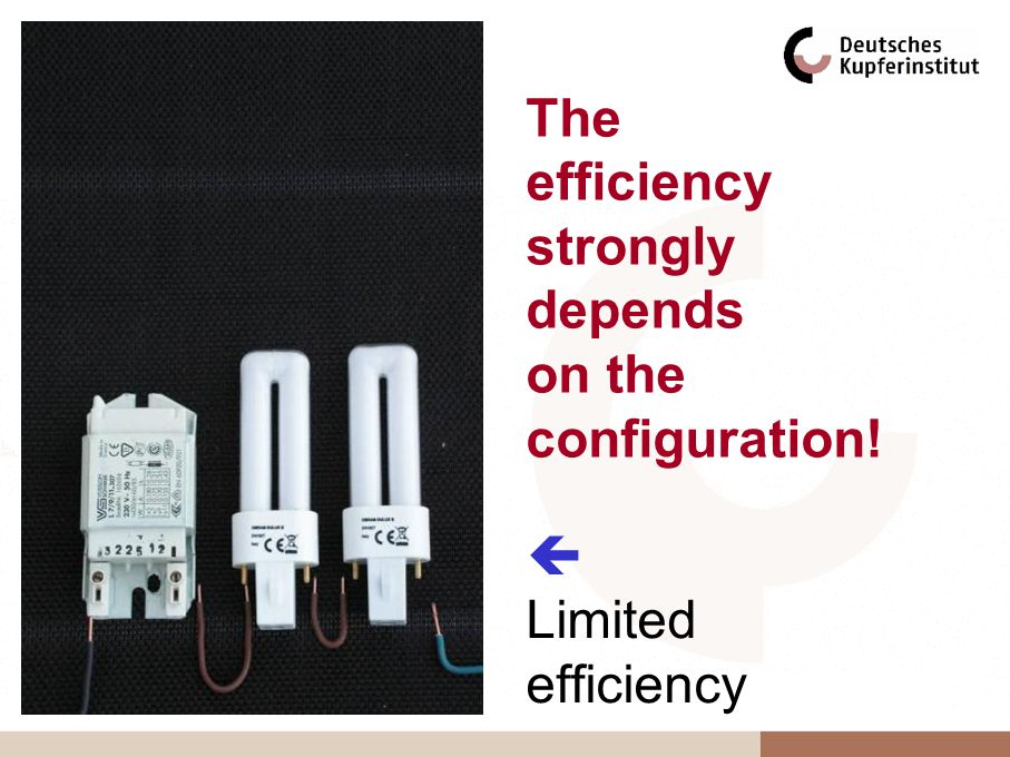 Limited efficiency The efficiency strongly depends on the configuration!
