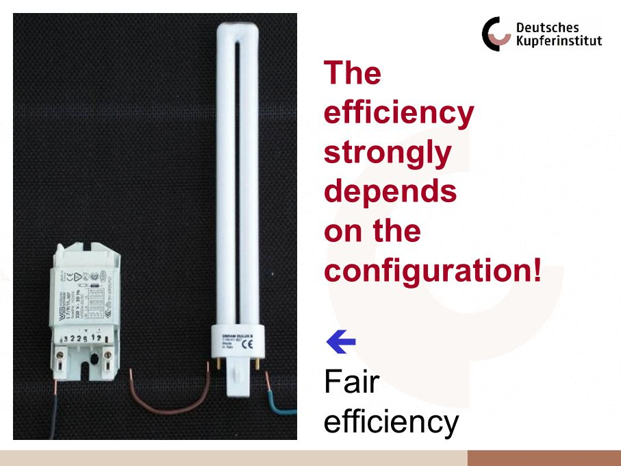 Fair efficiency The efficiency strongly depends on the configuration!