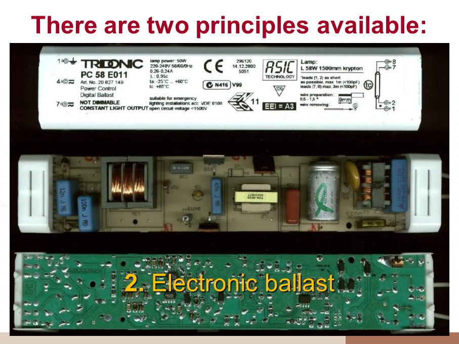 There are two principles available: 2. Electronic ballast
