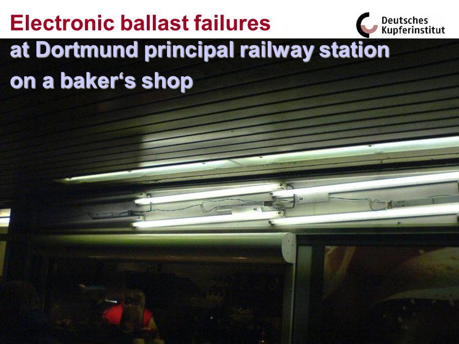 on a bakers shop at Dortmund principal railway station Electronic ballast failures at Dortmund principal railway station