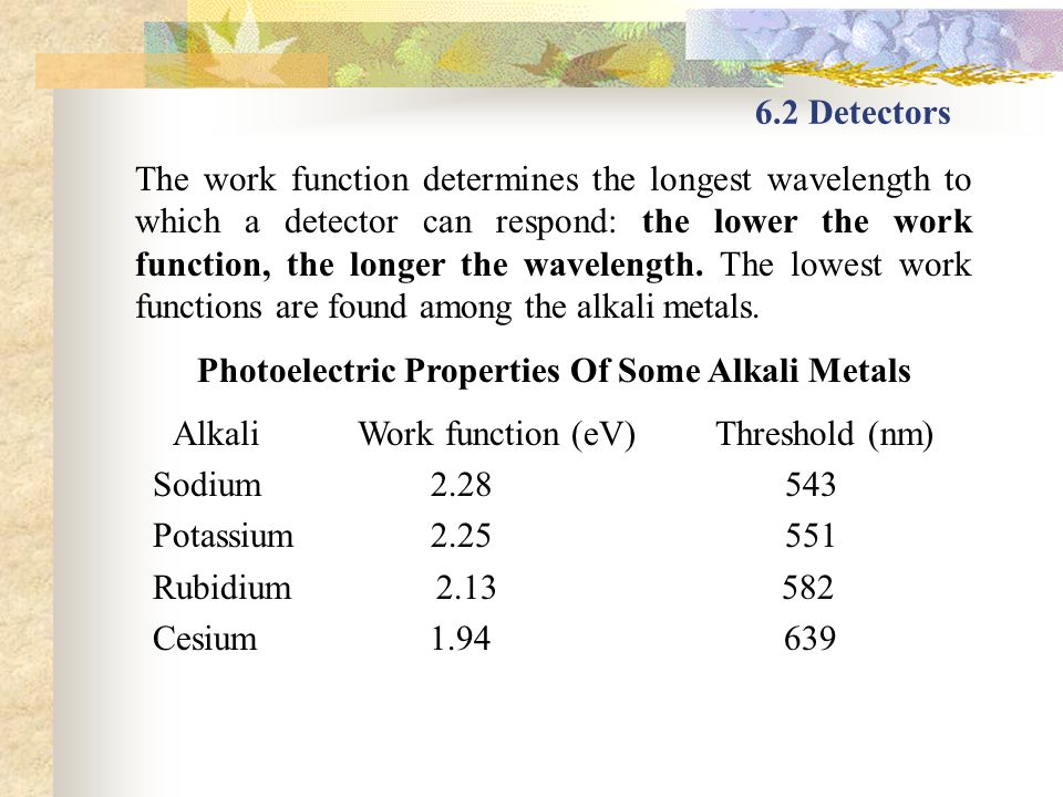 6.2 Detectors The work function determines the longest wavelength to which a detector can respond: the lower the work function, the longer the wavelen