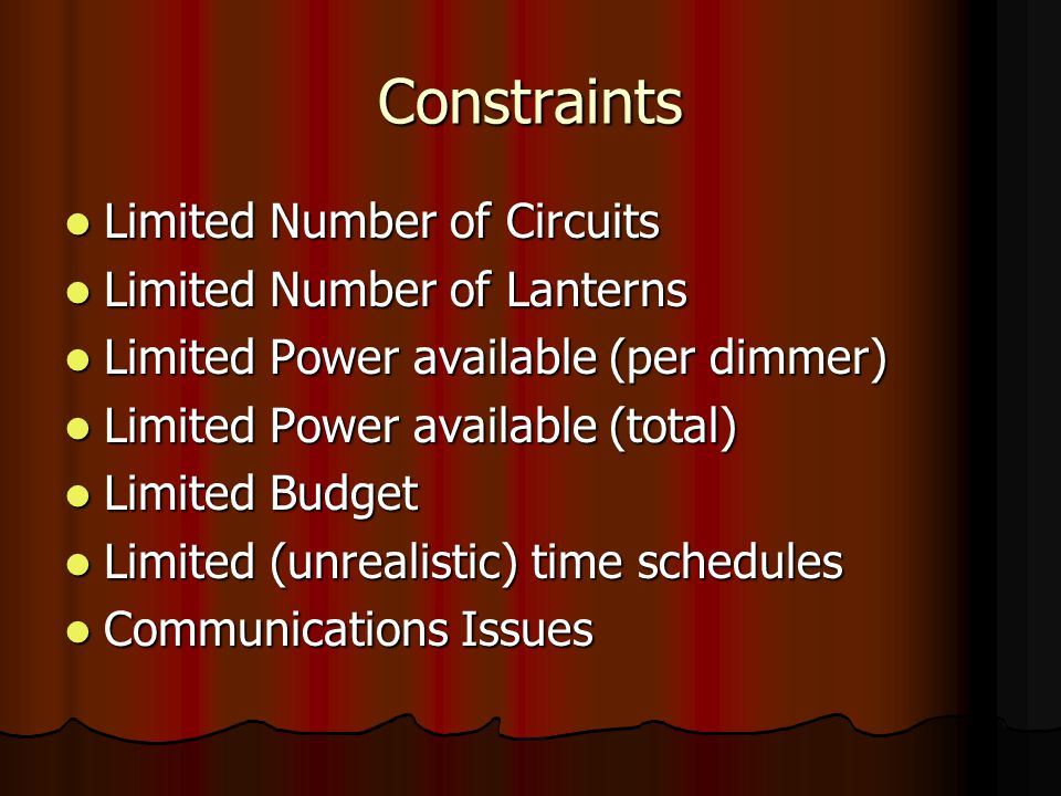 Constraints Limited Number of Circuits Limited Number of Circuits Limited Number of Lanterns Limited Number of Lanterns Limited Power available (per d