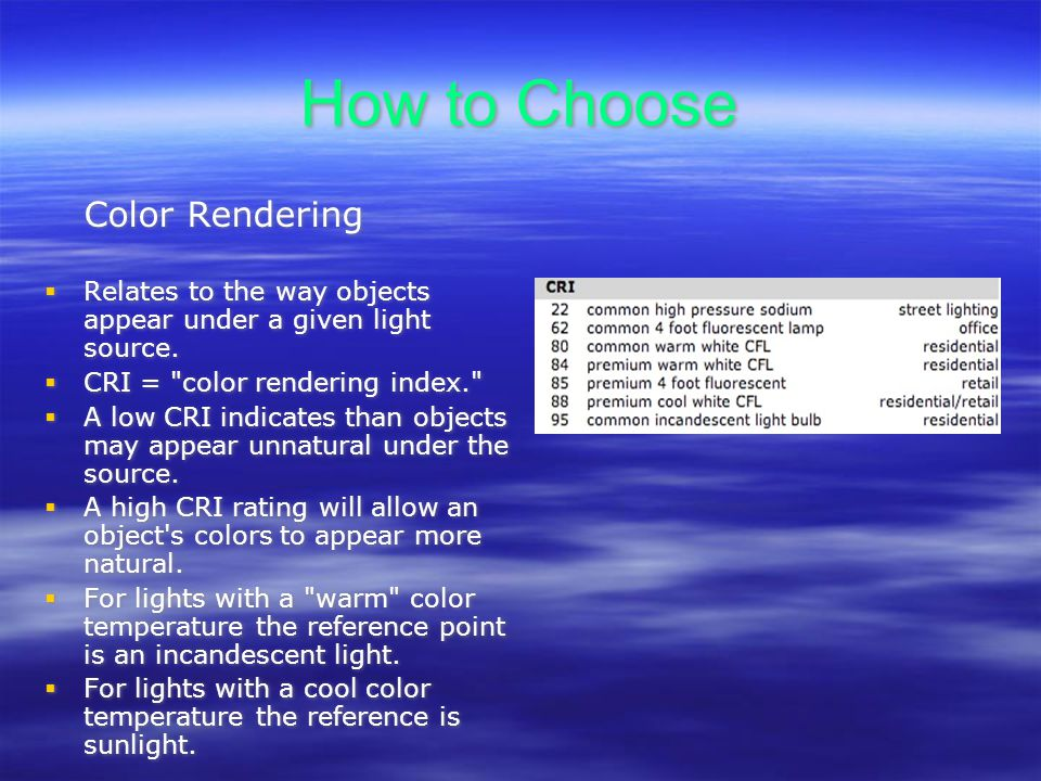 How to Choose Color Rendering Relates to the way objects appear under a given light source.