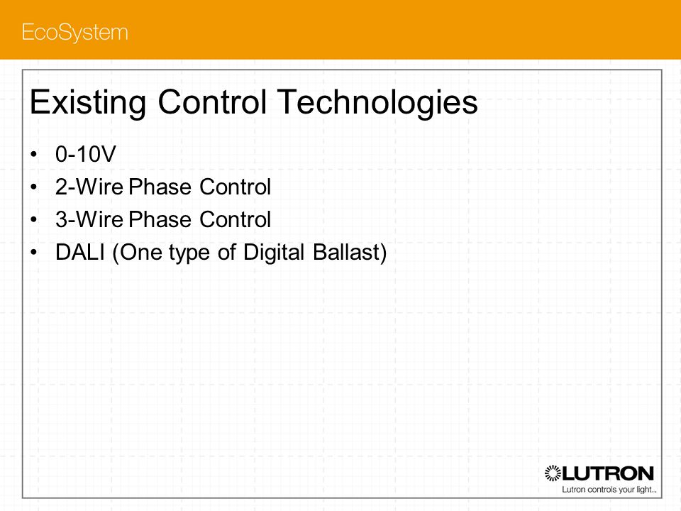 Existing Control Technologies 0-10V 2-Wire Phase Control 3-Wire Phase Control DALI (One type of Digital Ballast)