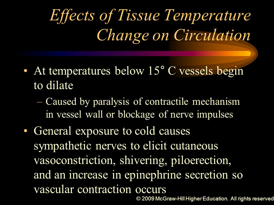 © 2009 McGraw-Hill Higher Education. All rights reserved. Effects of Tissue Temperature Change on Circulation At temperatures below 15° C vessels begi