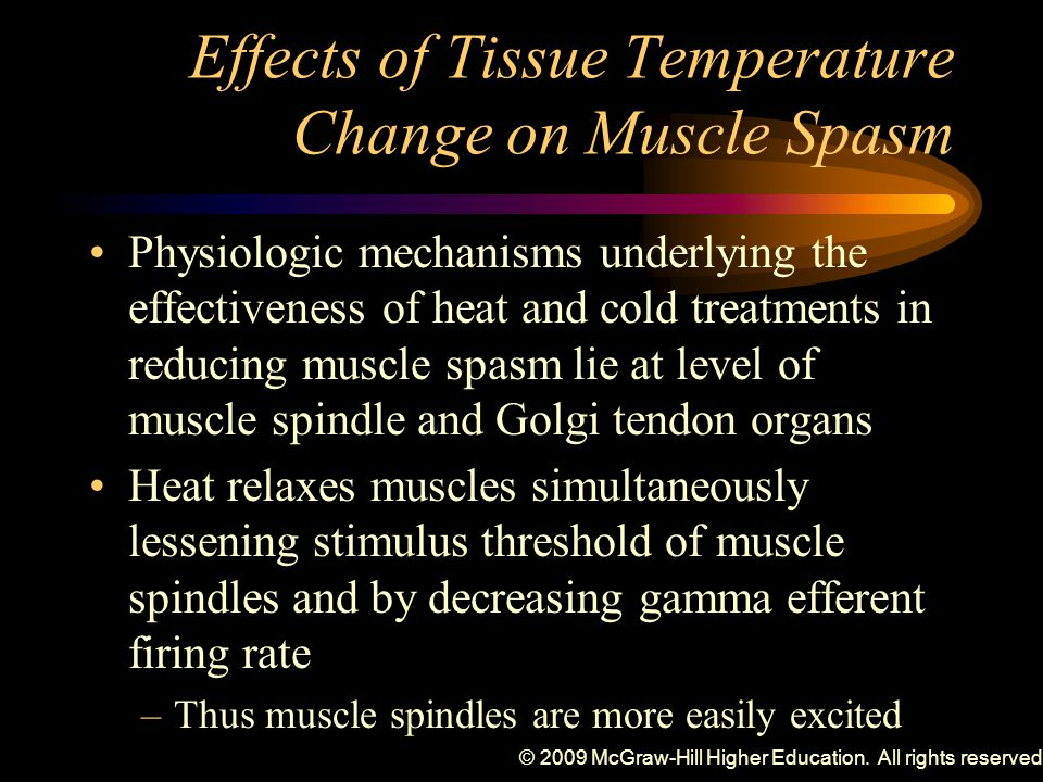 © 2009 McGraw-Hill Higher Education. All rights reserved. Effects of Tissue Temperature Change on Muscle Spasm Physiologic mechanisms underlying the e