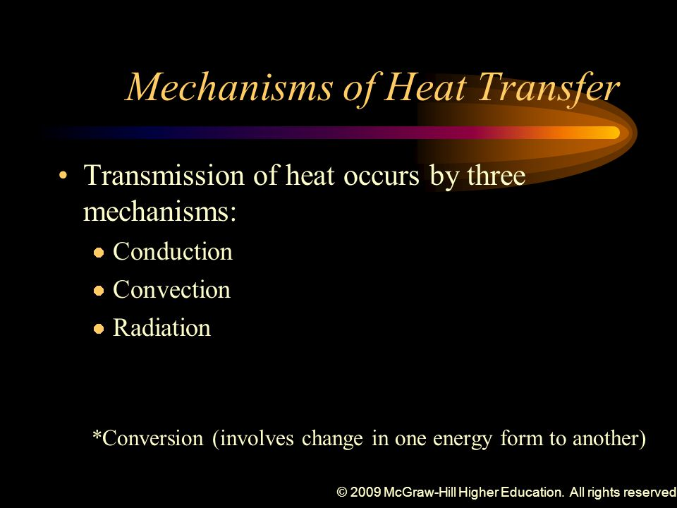 © 2009 McGraw-Hill Higher Education. All rights reserved. Mechanisms of Heat Transfer Transmission of heat occurs by three mechanisms: Conduction Conv