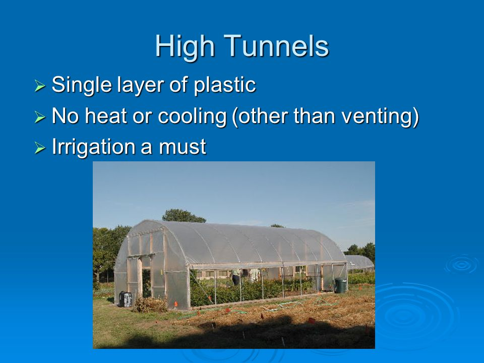 High Tunnels Single layer of plastic Single layer of plastic No heat or cooling (other than venting) No heat or cooling (other than venting) Irrigation a must Irrigation a must