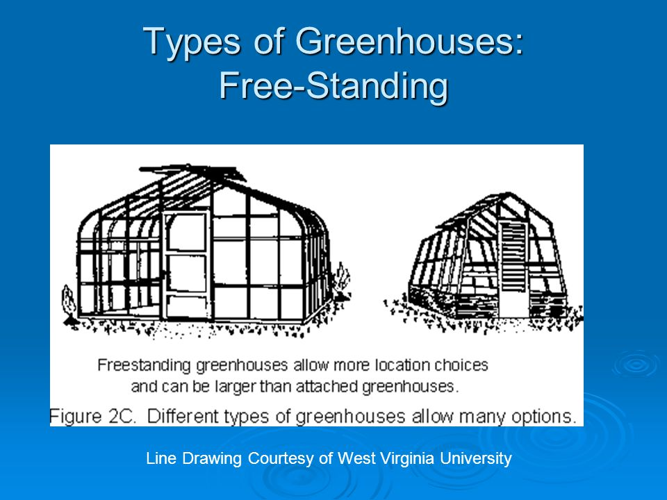 Types of Greenhouses: Free-Standing Line Drawing Courtesy of West Virginia University