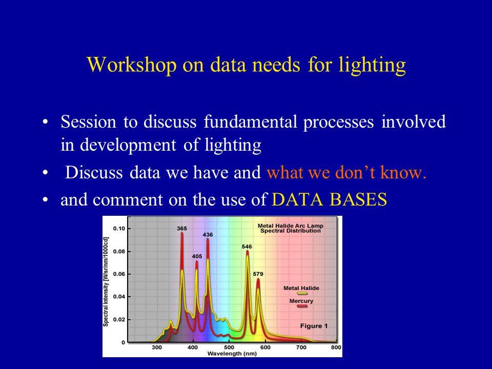 Workshop on data needs for lighting Session to discuss fundamental processes involved in development of lighting Discuss data we have and what we dont know.