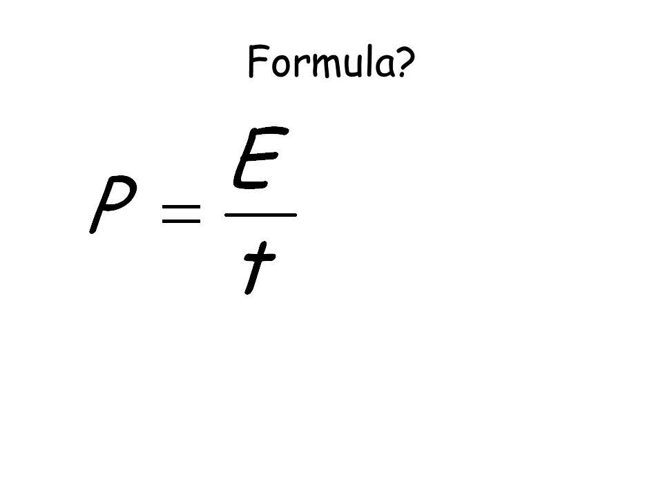 Power & Energy Example P = ? E = 1.8 MJ = 1.8x10 6 J t=10 minutes = 600 s