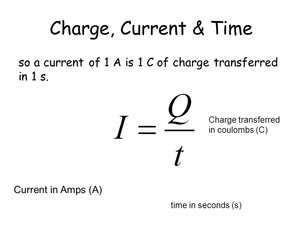Charge, Current & Time Current is the amount of charge flowing per second and is given the unit Amps (A)