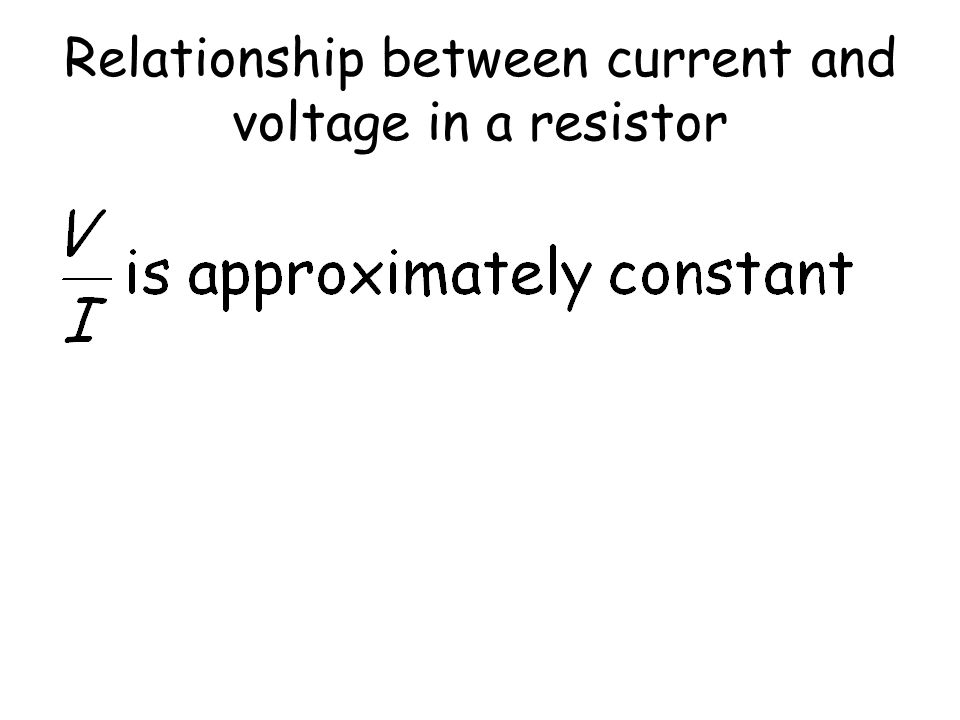 Relationship between current and voltage in a resistor I / Amps p.d. / Volts Straight line through the origin tells us that current is directly propor