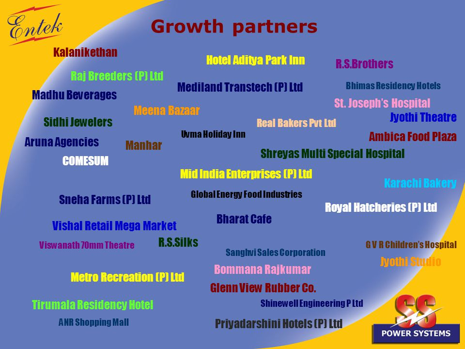 Growth partners Kalanikethan Meena Bazaar Vishal Retail Mega Market R.S.Brothers R.S.Silks COMESUM Jyothi Theatre Viswanath 70mm Theatre Jyothi Studio Sidhi Jewelers Priyadarshini Hotels (P) Ltd Bharat Cafe Sneha Farms (P) Ltd Royal Hatcheries (P) Ltd Metro Recreation (P) Ltd Mid India Enterprises (P) Ltd Mediland Transtech (P) Ltd Shreyas Multi Special Hospital Madhu Beverages Karachi Bakery Shinewell Engineering P Ltd Tirumala Residency Hotel Raj Breeders (P) Ltd G V R Childrens Hospital Manhar Uvma Holiday Inn Bhimas Residency Hotels Aruna Agencies Hotel Aditya Park Inn Real Bakers Pvt Ltd Ambica Food Plaza Bommana Rajkumar St.