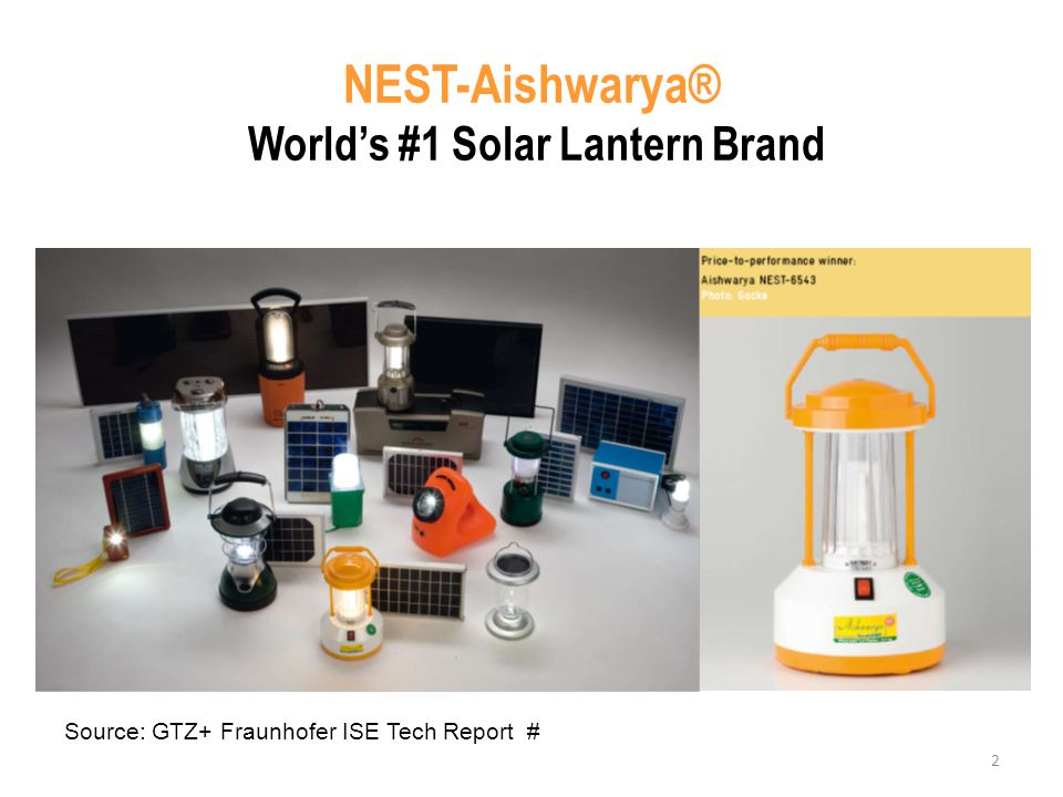 2 NEST-Aishwarya® Worlds #1 Solar Lantern Brand Source: GTZ+ Fraunhofer ISE Tech Report #