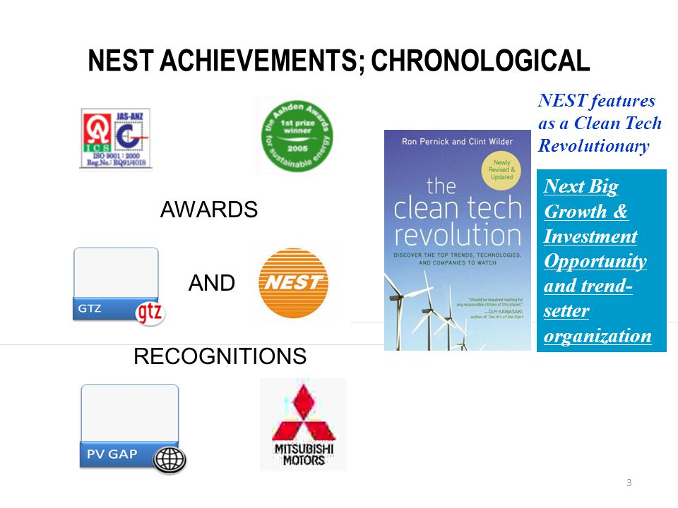 3 NEST ACHIEVEMENTS; CHRONOLOGICAL Next Big Growth & Investment Opportunity and trend- setter organization NEST features as a Clean Tech Revolutionary