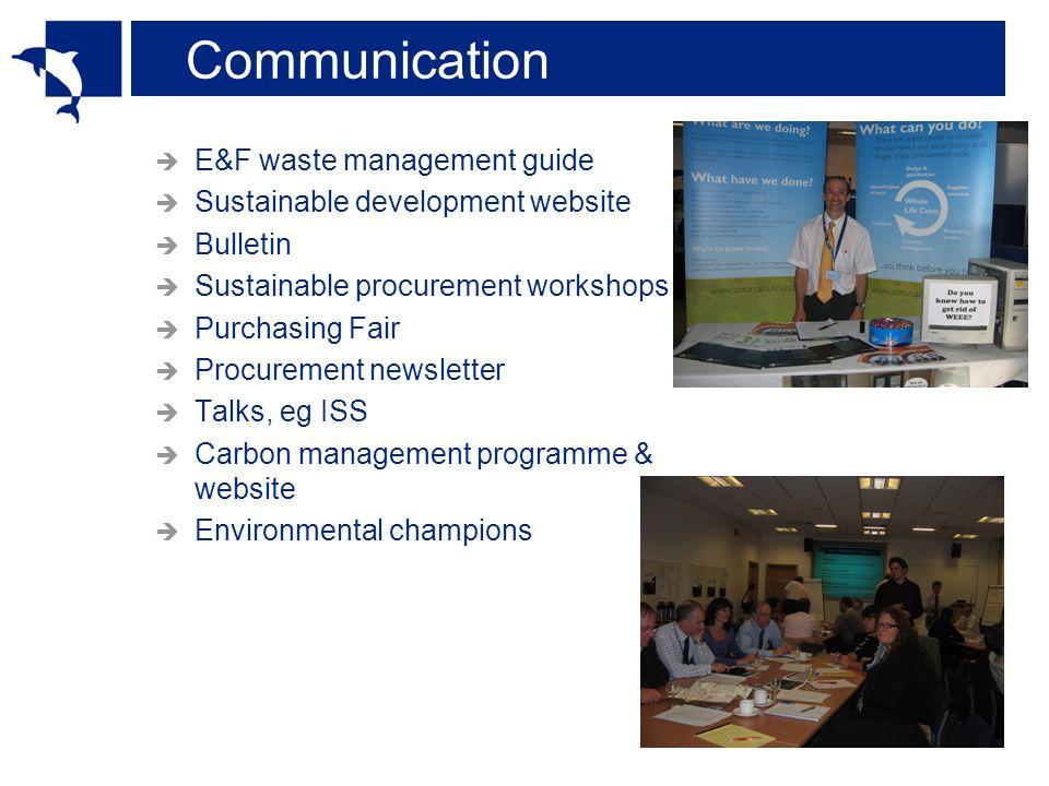 Communication E&F waste management guide Sustainable development website Bulletin Sustainable procurement workshops Purchasing Fair Procurement newsletter Talks, eg ISS Carbon management programme & website Environmental champions