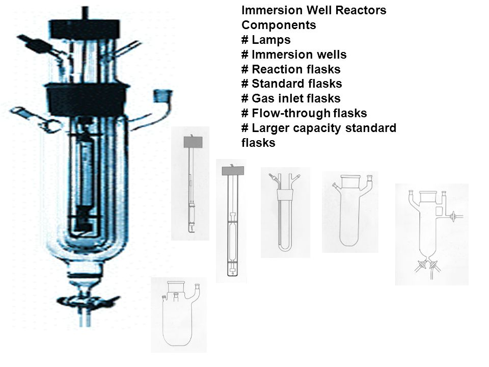 Immersion Well Reactors Components # Lamps # Immersion wells # Reaction flasks # Standard flasks # Gas inlet flasks # Flow-through flasks # Larger capacity standard flasks