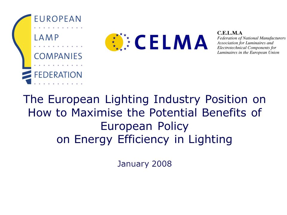 The European Lighting Industry Position on How to Maximise the Potential Benefits of European Policy on Energy Efficiency in Lighting January 2008
