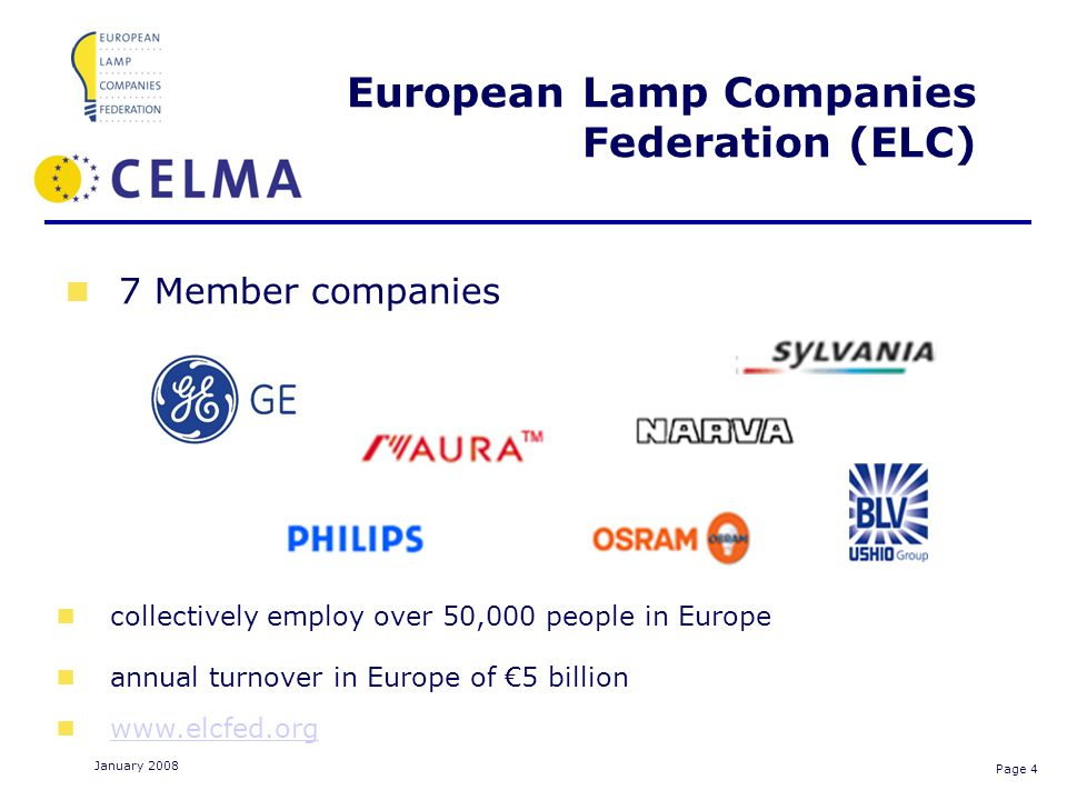 Page 4 January 2008 European Lamp Companies Federation (ELC) collectively employ over 50,000 people in Europe annual turnover in Europe of 5 billion www.elcfed.org HID 7 Member companies HID