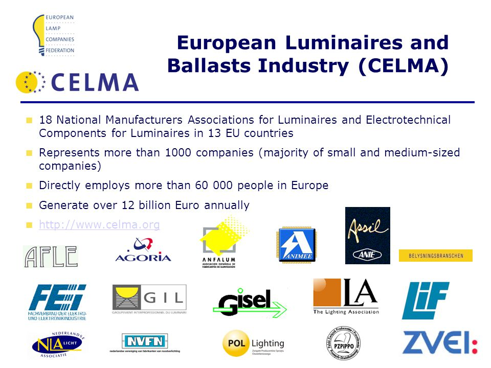 Page 5 January 2008 European Luminaires and Ballasts Industry (CELMA) 18 National Manufacturers Associations for Luminaires and Electrotechnical Components for Luminaires in 13 EU countries Represents more than 1000 companies (majority of small and medium-sized companies) Directly employs more than 60 000 people in Europe Generate over 12 billion Euro annually http://www.celma.org