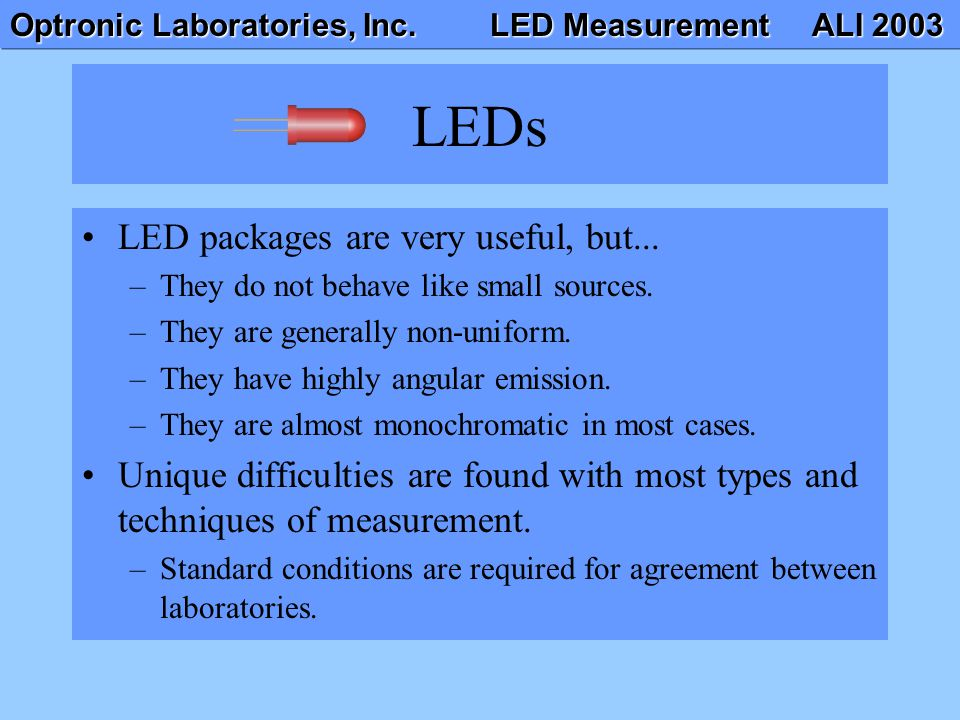 Optronic Laboratories, Inc.LED Measurement ALI 2003 LEDs LED packages are very useful, but...