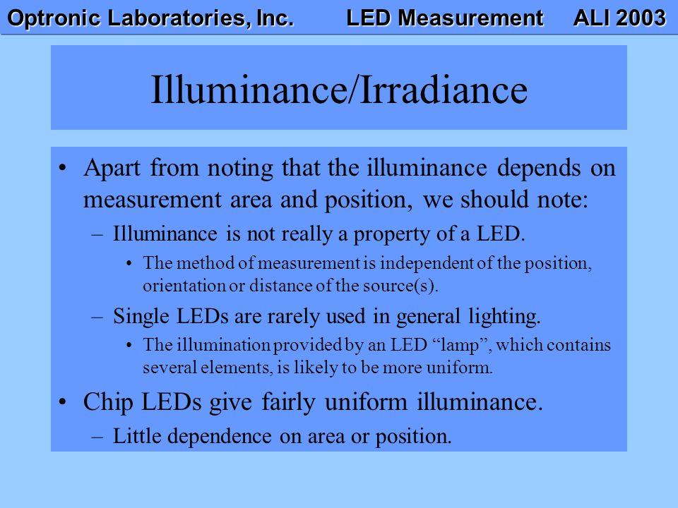 Optronic Laboratories, Inc. LED Measurement ALI 2003 Illuminance/Irradiance Apart from noting that the illuminance depends on measurement area and pos