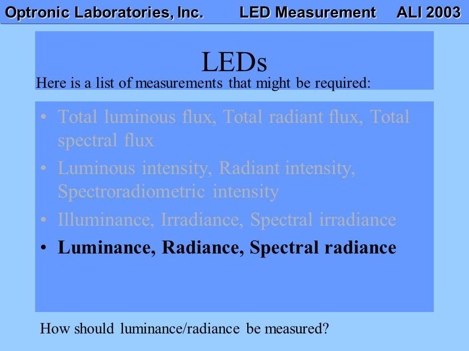 Optronic Laboratories, Inc. LED Measurement ALI 2003 LEDs Total luminous flux, Total radiant flux, Total spectral flux Luminous intensity, Radiant int