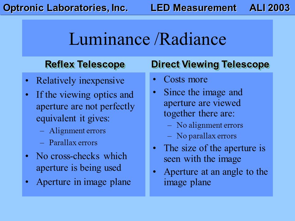 Optronic Laboratories, Inc. LED Measurement ALI 2003 Luminance /Radiance Relatively inexpensive If the viewing optics and aperture are not perfectly e