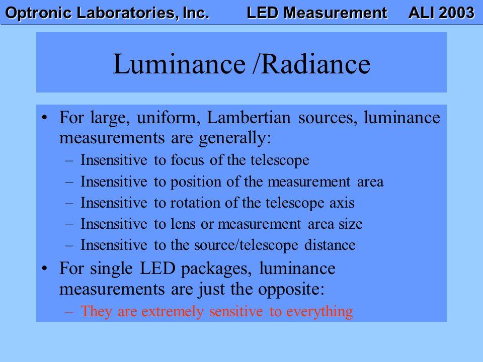 Optronic Laboratories, Inc. LED Measurement ALI 2003 Luminance /Radiance For large, uniform, Lambertian sources, luminance measurements are generally: