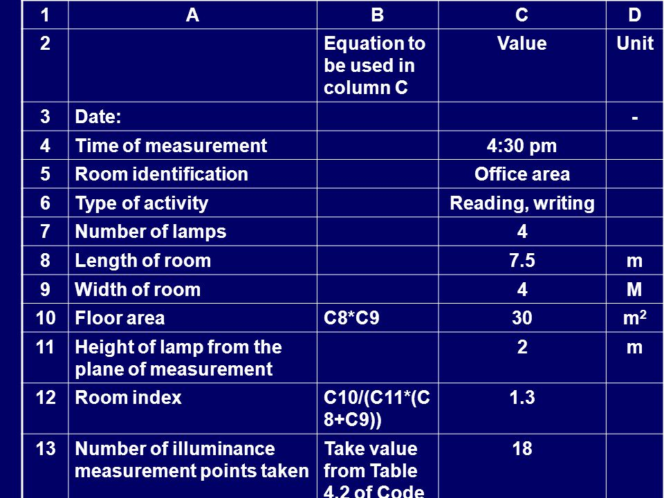 1ABCD 2 Equation to be used in column C ValueUnit 3Date: - 4Time of measurement 4:30 pm 5Room identification Office area 6Type of activity Reading, wr