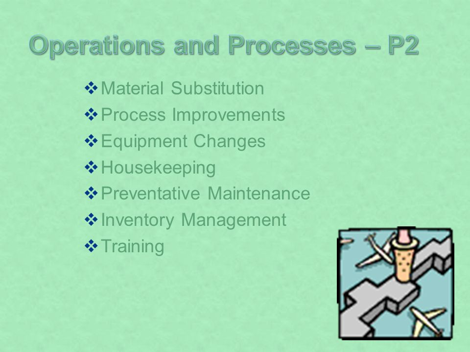 Material Substitution Process Improvements Equipment Changes Housekeeping Preventative Maintenance Inventory Management Training