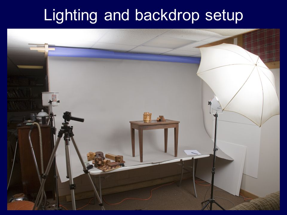 Lighting and backdrop setup