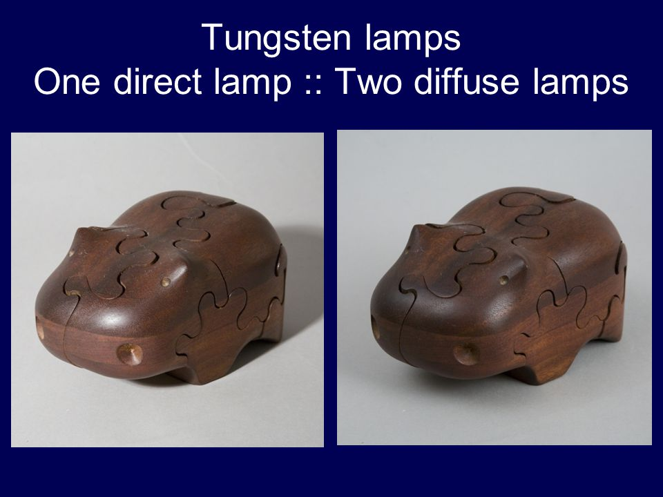 Tungsten lamps One direct lamp :: Two diffuse lamps