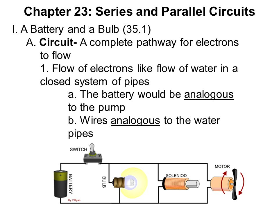 Chapter 23: Series and Parallel Circuits I. A Battery and a Bulb (35.1) A. Circuit- A complete pathway for electrons to flow 1. Flow of electrons like