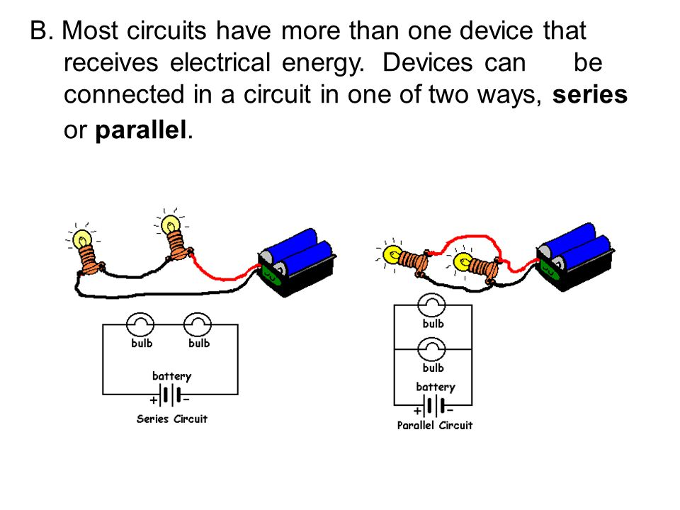 B. Most circuits have more than one device that receives electrical energy. Devices can be connected in a circuit in one of two ways, series or parall