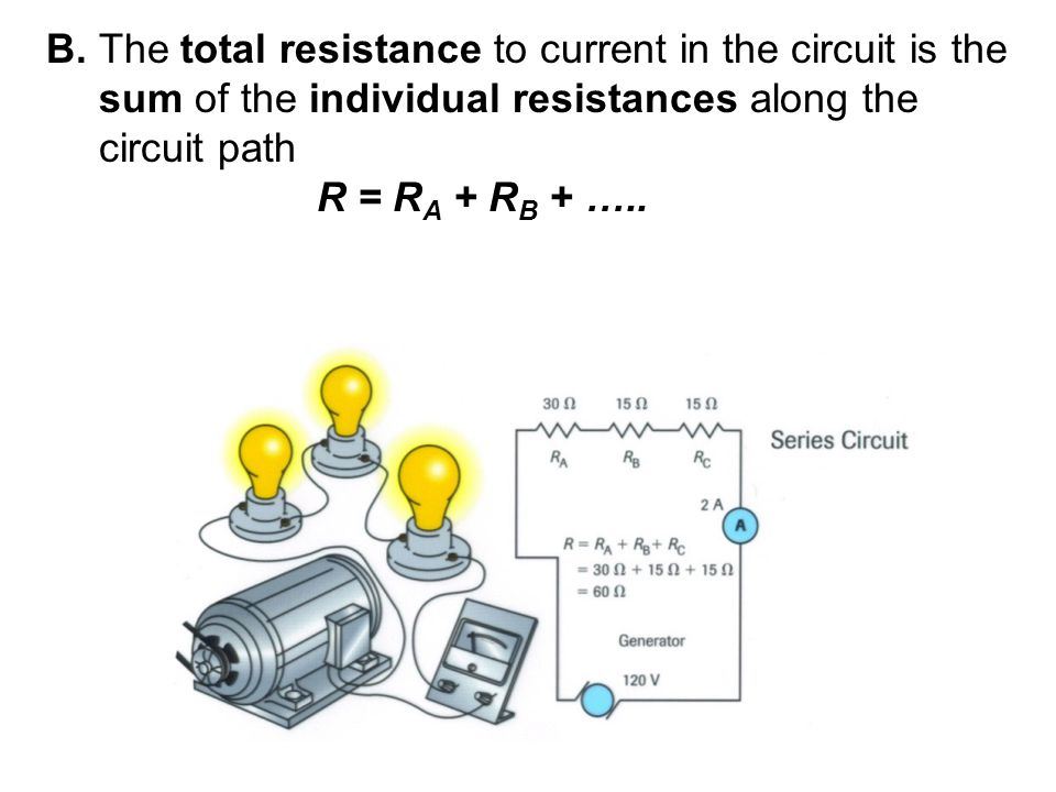 B. The total resistance to current in the circuit is the sum of the individual resistances along the circuit path R = R A + R B + …..
