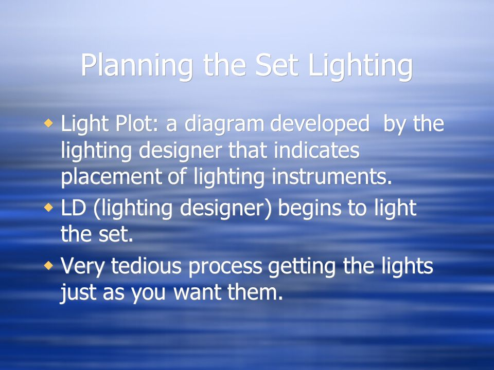Planning the Set Lighting Light Plot: a diagram developed by the lighting designer that indicates placement of lighting instruments.