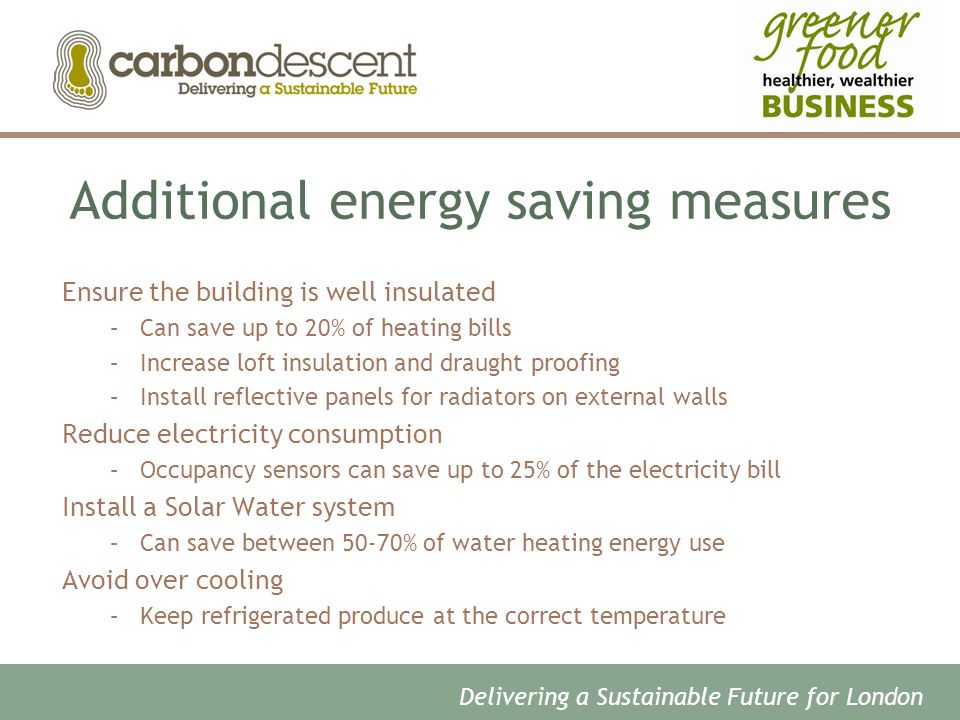 Additional energy saving measures Ensure the building is well insulated –Can save up to 20% of heating bills –Increase loft insulation and draught proofing –Install reflective panels for radiators on external walls Reduce electricity consumption –Occupancy sensors can save up to 25% of the electricity bill Install a Solar Water system –Can save between 50-70% of water heating energy use Avoid over cooling –Keep refrigerated produce at the correct temperature Delivering a Sustainable Future for London