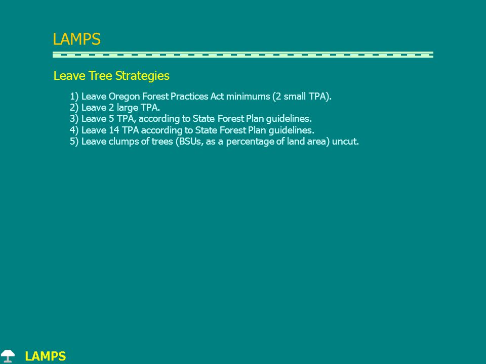 LAMPS Leave Tree Strategies 1) Leave Oregon Forest Practices Act minimums (2 small TPA).