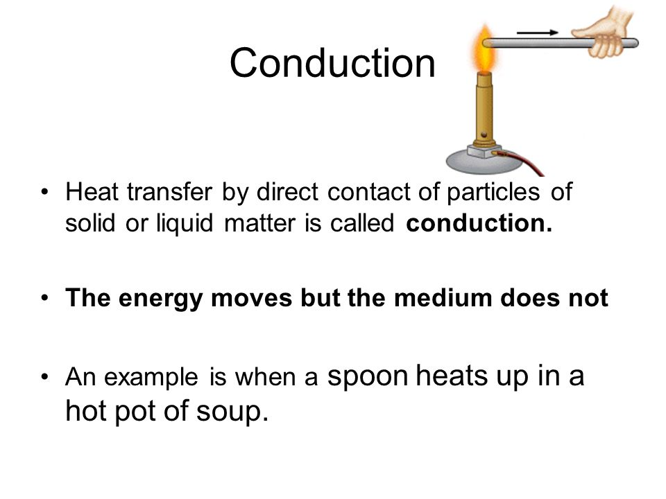 Conduction Heat transfer by direct contact of particles of solid or liquid matter is called conduction. The energy moves but the medium does not An ex