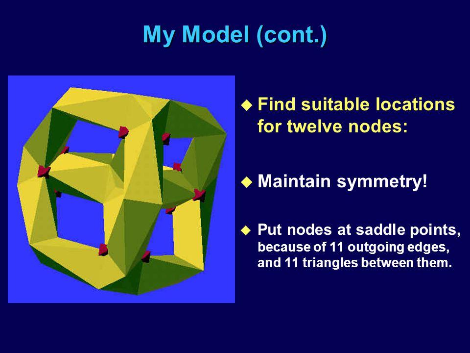 My Model (cont.) u Find suitable locations for twelve nodes: u Maintain symmetry.