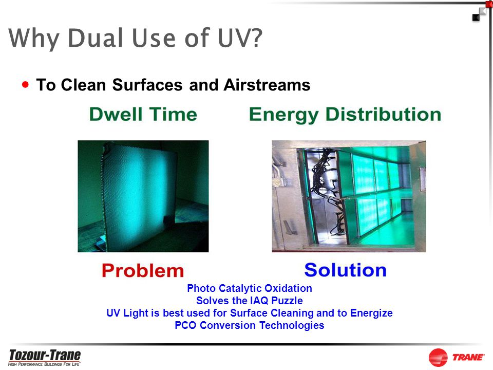 Photo Catalytic Oxidation Solves the IAQ Puzzle UV Light is best used for Surface Cleaning and to Energize PCO Conversion Technologies To Clean Surfaces and Airstreams