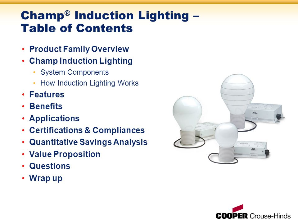 Champ ® Induction Lighting – Table of Contents Product Family Overview Champ Induction Lighting System Components How Induction Lighting Works Features Benefits Applications Certifications & Compliances Quantitative Savings Analysis Value Proposition Questions Wrap up